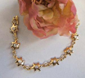 【送料無料】ブレスレットファッションブレスレットbraccialetto fashion stelline con strass centrali placcato oro giallo bracelet