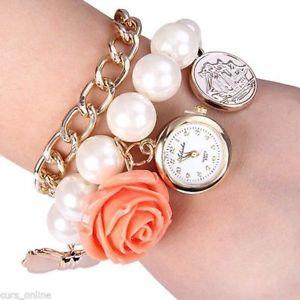 【送料無料】スタイリッシュブレスレットビンテージペンダントフラワーバックビーズelegante orologio bracciale donna ragazza vintage perle fiore pendente retro