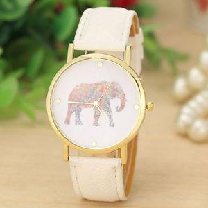 【送料無料】エスニックファッションレザーストラップウォッチホワイトorologio donna elefante boho etnico fashion cinturino ecopelle watch bianco