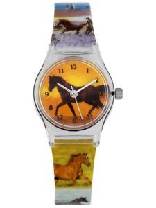 【送料無料】カフウォッチorologi da polso bambini cavallo ragazza kinderuhr lernuhr cavalli motivo bracciale 2te scelta