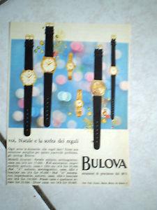【送料無料】シートクロックモデルpubblicita foglio rivista orologio bulova uomo donna vari modelli rarita