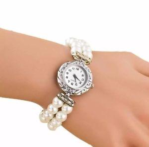 【送料無料】カフレディーシルバーパールラインストーンホワイトピンクウォッチbracciale orologio da polso orologio donna argento con perle strass glitter bianco rosa