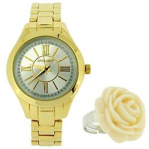 【送料無料】ラベルゴールドトーンメタルブレスレットローズリングウォッチストラップlove label onorevoli gold tone metal bracciale cinturino orologio con rose anello bx8310