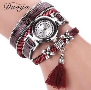 【送料無料】シルバーラップアラウンドカフボルドーorologio da polso orologio donna argento strass avvolgente bracciale rosso bordeaux