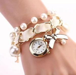 【送料無料】クロックゴールドフレークカフbracciale armkette con orologio e perle fiocco oro bianco nero