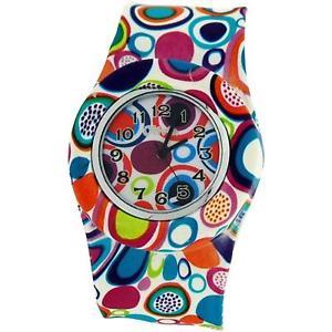 【送料無料】レトロシリコンスラップウォッチtoc donna ragazze retr cerchi colorati design silicone slap watch toc165