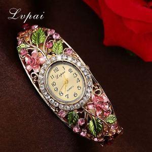 【送料無料】ファッションカフクラシックmoda donna orologio bracciale donna fiore gemstone classic orologio da polso in lega