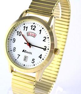 【送料無料】エクスパンダラヴェルゴールドトーンravel da uomo grande numero day date orologio expander, tono oro, tempo di facile lettura