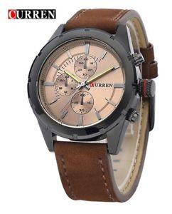 【送料無料】クロノグラフブレスレットcurren orologio da polso uomo cronografo bracciale in pelle marrone