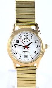 【送料無料】ラヴェルストレッチクリアゴールドトーンエクスパンダストラップクロックravel orologio donna con quadrante chiaro day date gold tone expander cinturino in metal