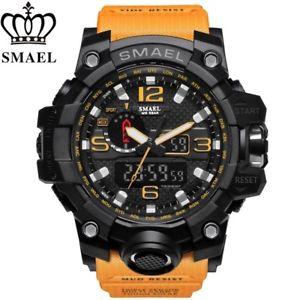 【送料無料】スポーツオレンジクロッククオーツアナログデジタルsmael impermeabile sport arancione militare orologio uomo analogico quarzo orologio digitale