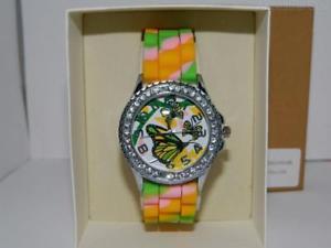 【送料無料】バタフライクロックシリコンストラップwomens farfalla luccicante bling orologio, multicolor silicone strap, quarzo, v3