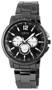 【送料無料】ステンレススチールリングアナログカフqbos orologio da polso uomo nero in acciaio inoxanelli bracciale analogico faltschliee