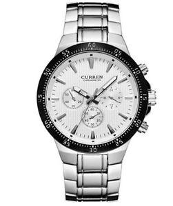 【送料無料】クロノグラフシルバーホワイトcurren orologio da polso uomo cronografo argentobianco m8063