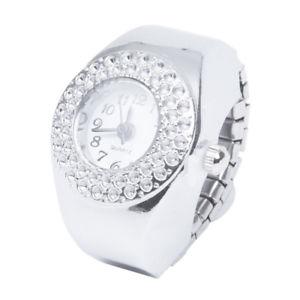 【送料無料】10xorologio da dito anello al quarzo argento con strass numeri arabi moda