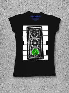 【送料無料】メッシュシャツコットングリーンライトトラフィックライトウォッチmaglia t shirt abbigliamento donna regalo cotone watch out green light semaforo