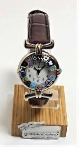 【送料無料】ムラノガラススチールorologio donna acciaio pelle marrone watch in vetro di murano murrina millefiori