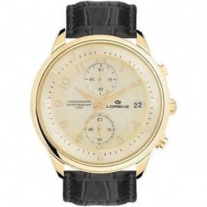 【送料無料】orologio lorenz 26815bb cronografo uomo nero gold pelle moda elegante classico