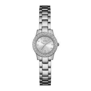 【送料無料】ステンレススチールorologio guess lady silver in acciaio con cristalli w0889l1