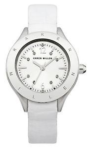 【送料無料】karen millen orologio da polso, analogico, donna, pelle, bianco a6y