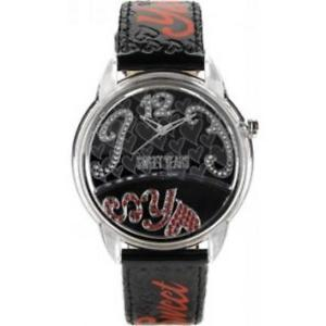 【送料無料】クロックブラックハートスワロフスキーorologio sweet years donna sy6282l08 pelle nero cuore swarovski sy estate