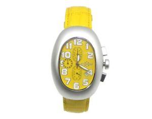 【送料無料】クロックビンテージクロノトノーイエローorologio vintage chronostar uomo chrono tonneau pelle yellow 3751911055 130