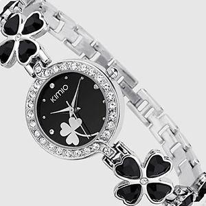 【送料無料】ブレスレットkimio orologio donna nero bracciale quadrifoglio con cristallicrystal jewelry