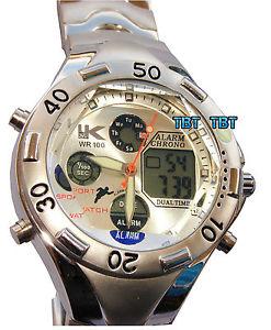 【送料無料】クロックマンクロノグラフスチールダブルorologio uomo cronografo acciaio doppio display impermeabile 30m watch men
