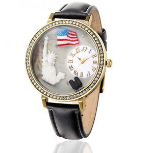 【送料無料】ルカバースチールゴールドゴールドレザーレディーorologio luca barra bw152 usa donna acciaio oro gold pelle nero cristalli lady