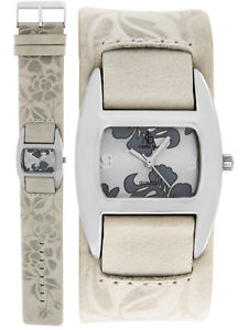 【送料無料】ベージュorologio argento orologio da polso da donna beige orologi da polso donna orologi florales design