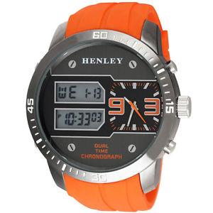 【送料無料】オレンジアナログデジタルhenley da uomo extra grande arancione analogico e digitale orologio