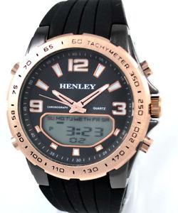 【送料無料】アナログデジタルクロノスポーツエルクロックピンクゴールドhenley da uomo analogico e digitale chrono sport el orologio rosa color oro amp;