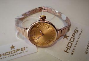 レディーフープピンクゴールドスチールブレスレットorologio donna hoops,pvd oro rosa,small 29 mm,bracciale acciaio,quadrante giallo