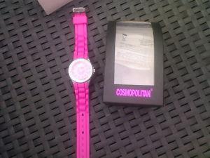 【送料無料】ピンクウォッチcosmopolitan orologio da donna con strass rosa nuovo e ovp