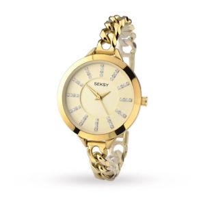 【送料無料】ハカフnuovo donna seksy abbraccio bracciale placcato oro watch 2071