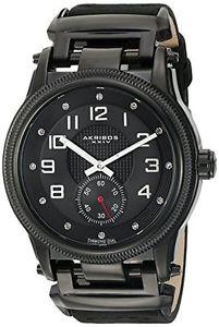 【送料無料】レザーカラーブラックakribos xxiv ak815bk orologio da polso da uomo, pelle, colore nero c1g