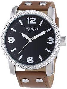 【送料無料】マイクエリスニューヨークアナログmike ellis york orologio da polso, analogico al quarzo, pelle, uomo p0h