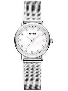 【送料無料】ステンレススチールシルバークォーツアナログホワイトalienwork orologio donna acciaio inossidabile argento analogico quarzo bianco i