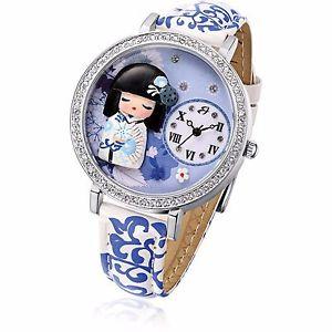 【送料無料】ルカウォッチバーレディーorologio luca barra bw159 geisha donna acciaio pelle blu bianco cristalli lady
