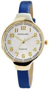 【送料無料】excellanc 195002700164 orologio da polso donna, ecopelle, colore blu b5l
