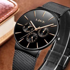 【送料無料】メンズウォッチトップブランドmens orologi lige impermeabile top brand di lusso ultra sottile data orologio ma