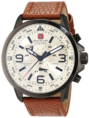 【送料無料】スイスクロノグラフブラウンswiss military arrow orologio da polso, cronografo, uomo, pelle, marrone