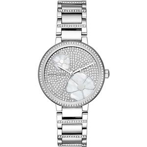 【送料無料】クロックミハエルコートニースチールorologio michael kors courtney mk3835 donna watch acciaio fiori zirconi flower