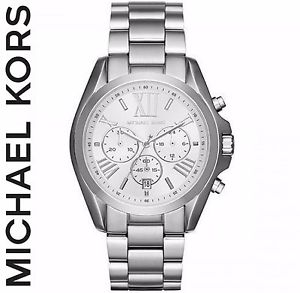 【送料無料】ミハエルステンレススチールクロノグラフmichael kors donna mk5535 bradshaw silvertone cronografo in acciaio inox