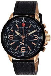 【送料無料】スイスクロノグラフブラックswiss military arrow orologio da polso, cronografo, uomo, pelle, nero d9x