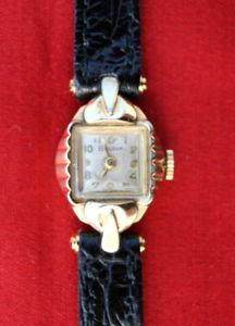 【送料無料】ゴールドスチールレザーストラップブラックorologio da polso bulova anni 40, oro, acciaio, cinturino pelle nero funzionante