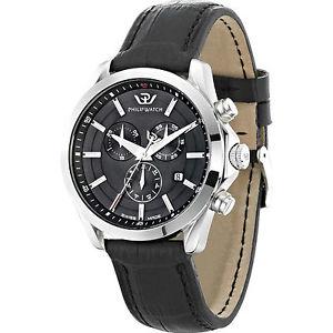 フィリップウォッチクロノグラフレザースチールウォッチorologio philip watch prestige blaze r8271665004 cronografo pelle nero acciaio