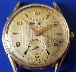 【送料無料】watch vintage hosam triple date gold platted very rare watch eta 1164
