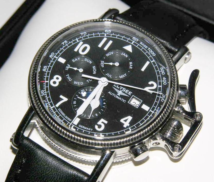 クロックフェーズelysee 49057 orologio mecc automatico mesegiornodata fasi lunari24 ore 2745
