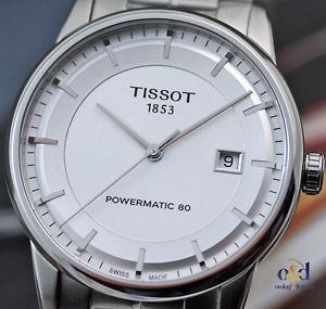 【送料無料】ティソクロックシルバーインデックスtissot luxury powermatic 80 orologio uomo automatico acciaio 41mm argento indici